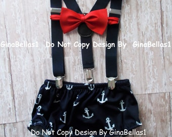 Nautical Birthday outfit cake smash suspenders anchor red bow tie blue Navy diaper cover sailor baby shower gift 6 9 12 18 24 toddler