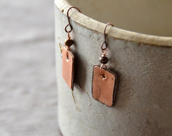The Candy Bar hammered copper Earrings backed with bronze leather 1 Pair select size