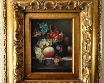 Sale Still Life Fruits Oil Painting Art O/C Signed Gold Gilt Ornate Wood Frame Home Decor