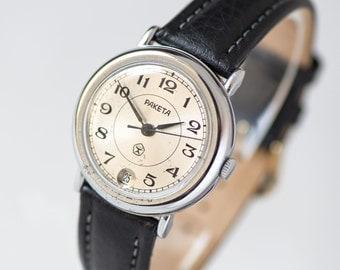 Modern minimalist men's watch Rocket, silver shiny men's watch, mechanical men watch gift, quality mark USSR watch,premium leather strap new