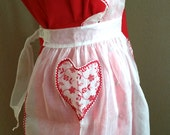 4-Day SALE Heart Pinafore Apron - Vintage Pinafore Apron - Valentine Hostess Apron - White Voile - Red Rick Rack - Embroidered Floral Pocket
