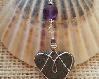Womens Jewelry Stone Beach Heart Necklace With Amethyst Faceted Gemstone