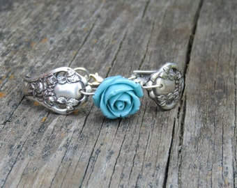 Spoon Bracelet - Dolly Madison - Upcycled Antique Silverplate Spoons - Blue Rose Bead - Vintage Wedding (01701-LV)