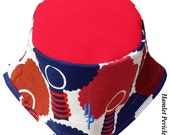 African Queen Red-top XL Bucket Hat | Afro | Afrocentric Hat | Natural Hair Hat | African Silhouette | Red Blue Hat by Hamlet Pericles