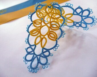 Independence Day of Ukraine-emblem Ukraine-Support Ukraine- OOAK- blue and yellow-tatted earrings- handmade jewelry - lace earrings
