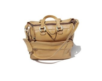 Amber Sienna Tan Leather Weekend or Overnight Travel Bag