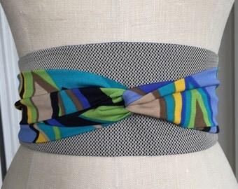 Tan suiting obi belt sash, 80's inspired print obi sash, reversible waist cincher, bright blue obi, graphic bold print obi