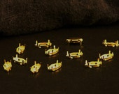 A Dozen Navette 15mm x 7mm Light Gold Plated Sew On Cabochon Settings