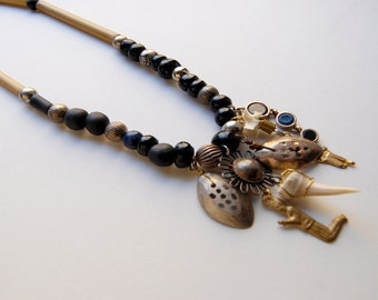 Charm Necklace Witch Necklace Black Beaded Necklace Bamboo Necklace Ancient Necklace