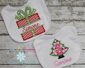 Girl Christmas Bib - Personalized Christmas Bib - Present or Tree