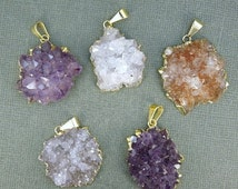 15% off Christmas in July Amethyst Flower Cluster Pendant with 24k gold layered edging-- Small Amethyst Cluster Pendant