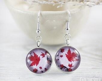 Purple Earrings - Earrings - Purple Jewelry - Fashion Earrings - Red Earrings - Art Jewelry - Maple Leaves (4-1E)