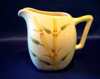 Weil ware china creamer pitcher bamboo hand decorated made in California Tiki style retro pottery donkey logo