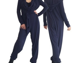 AUTUMN HOOD navy blue jumpsuit overall hood pants fall fashion casual oversized yoga lounge plus size