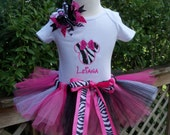Minnie Mouse Birthday Outfit -Zebra Sparkle- with bow, shirt ,and tutu