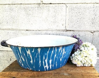 Enamel WASH BASIN | Vintage Blue and White Swirl Enamelware Bowl | Large Enamel Ware Basin | Kitchen Graniteware | Shabby French Farmhouse