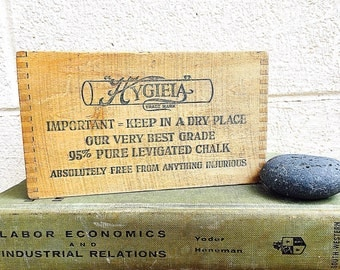 Small Wood CRATE | Hygieia Chalk Box | Rustic Vintage c.1920s Wooden Packing Crate | Dustless School Chalk Box | Industrial Storage | NO LID