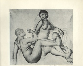Antique Print, 1952 Renoir Drawing Study for The Bathers, 1800s, wall art vintage b/w lithograph illustration historical painting chart