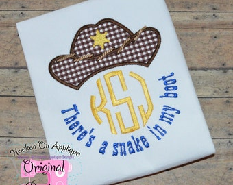 There's a snake in my boot - Boy's monogram shirt - Boy's Cowboy shirt - Cowboy themed birthday party - Western applique shirt