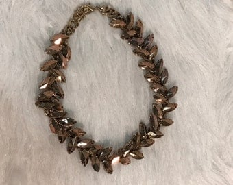 Bronze crystal statement necklace