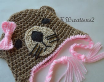 Bow Otter Hat (All sizes available-Made to order) Red or Pink bow