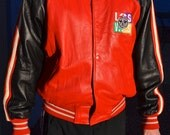Vintage All Star Cafe Las Vegas leather jacket red black large collectible like new