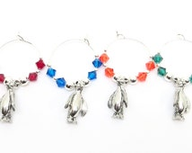 Penguin Wine Charms, Swarovski crystal beads, & pewter charms, includes small bag