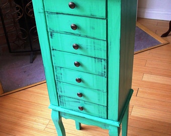 Hand painted Beautiful X Large Teal green Wooden Jewelry Box / Jewelry Armoire / Chest