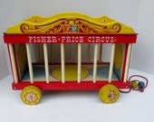 SALE 20% Off, Vintage Fisher Price Wooden Circus Wagon 900 with Animals and Accessories, 1960s