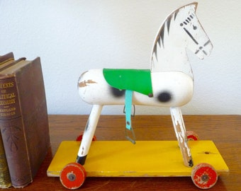 Vintage Pull Toy Horse Toy German Wooden Pull Toy Wheels Nursery Toy Shabby Chic