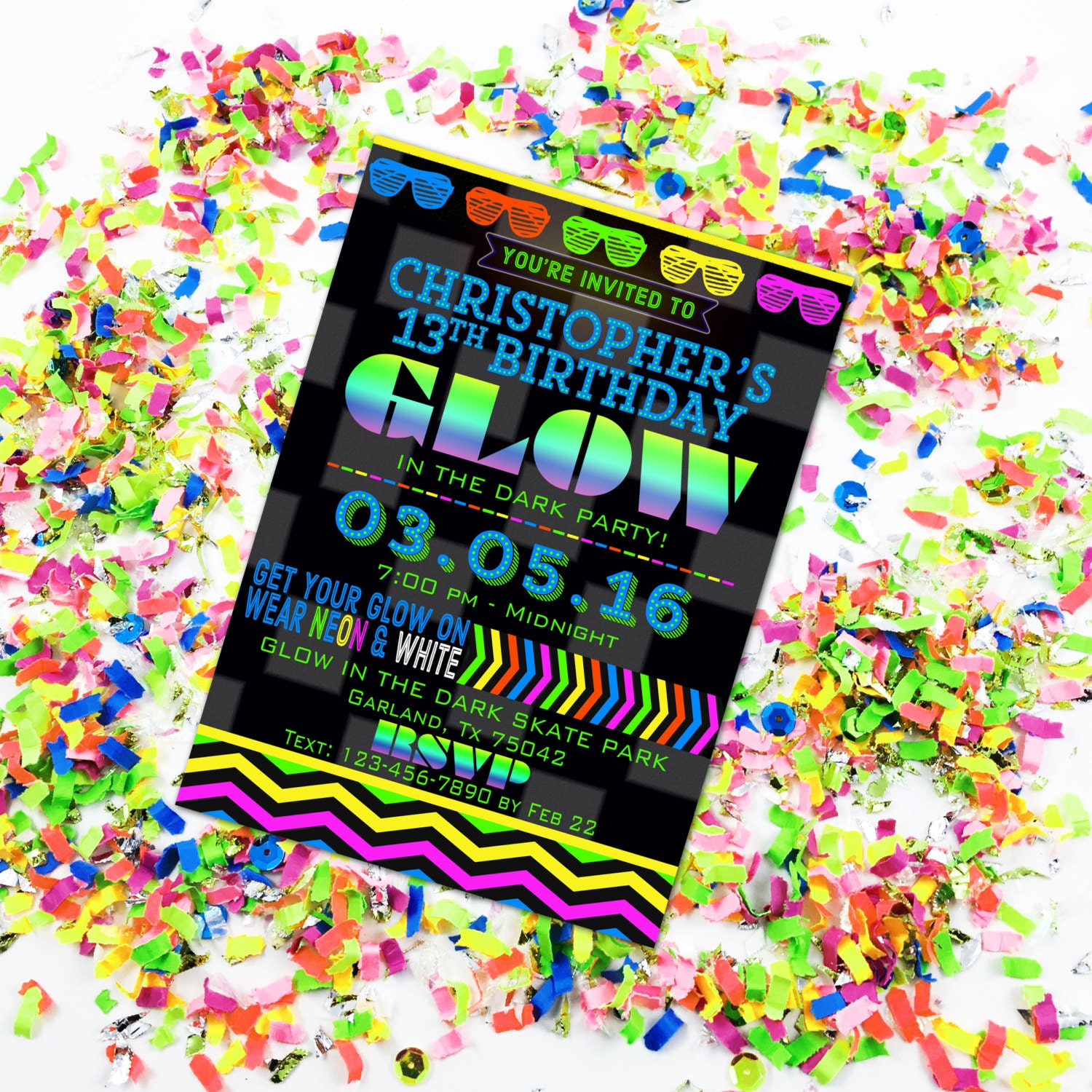 glow in the dark party invitation glow birthday neon party, invitation samples