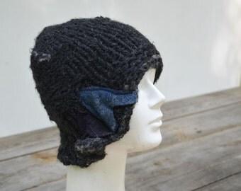 winter hat Retro cloche 1920 style, hand knitted, dark grey, soft wool acrylic, felt winter knit hat unique art to wear fashion design