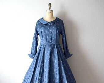 1950s dress . vintage 50s blue brocade dress