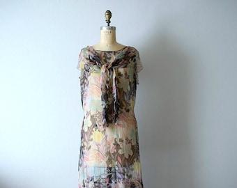 1920s silk chiffon dress . vintage 20s floral dress