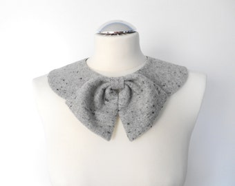 Casual Gray Winter Collar / Handmade Peter Pan Collar Necklace with Detachable Bow Brooch