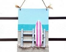 Surf Decor - Beach Wall Decor - 3D Surfboard Wall Decor - Surfer Art - Surf Sign - Surf board Sign - Beach House Decor - Beach Canvas
