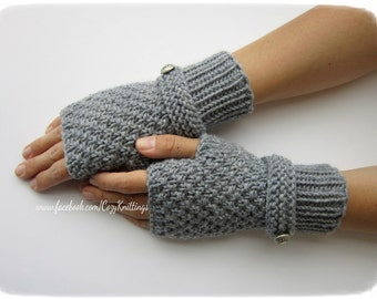 knitting pattern PDF pattern arm warmers wrist warmers gloves mittens PDF moss stitch with strap and buttons