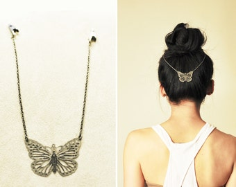 Boho Chic Hair Chain: Butterfly Beauty (Rustic Silver)
