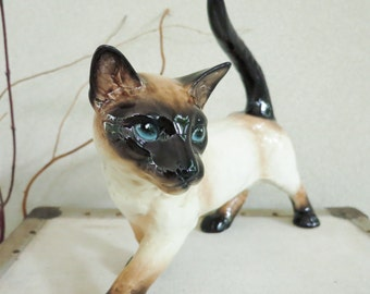 Large Goebel Siamese Cat Walking or Prowling - Realistic Cat Figurine - Made in West Germany - Gift for Her - Gift for Cat Lover