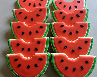 Large Hand decorated Watermelon Slice cookies (#2485)