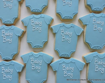 Baby Boy or Baby Girl Baby Shower Decorated Sugar cookies One Piece Rompers for showers (#2445)