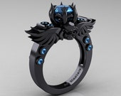 Art Masters Classic Winged Skull 14K Black Gold 1.0 Ct Blue Topaz Solitaire Engagement Ring R613-14KBGBT
