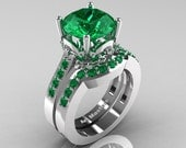 Classic 14K White Gold 3.0 Carat Emerald Solitaire Wedding Ring Set R301S-14KWGEM