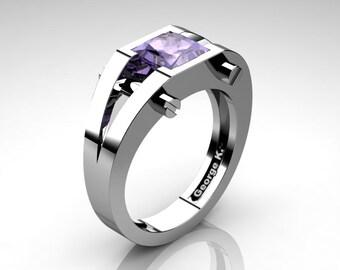 Modern 14K White Gold 1.25 Ct Princess Tanzanite Ring R394-14KWGTA