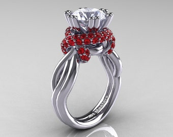 Classic 14K White Gold 3.0 Ct White Sapphire Rubies Knot Engagement Ring R390-14KWGRWS