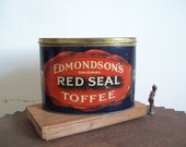Antique candy tin Edmondsons Red Seal Toffee oval tin red blue gold graphics great color