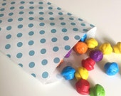 "CLEARANCE SALE 50 BLUE Kraft Paper Bags, Polka Dot, Food Safe, 6.25"" x 9.25,"" Flat Merchandise Bags"