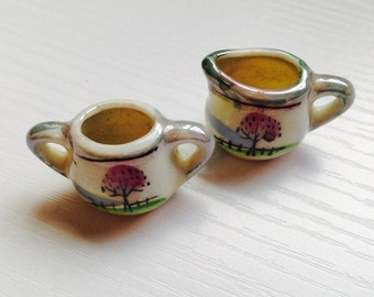 Miniature Lusterware Cream and Sugar