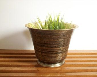 Modern Brass and Black Planter, Flower Pot, Black Stripes, Mod Design, Vintage Hammered Brass Jardiniere, MCM