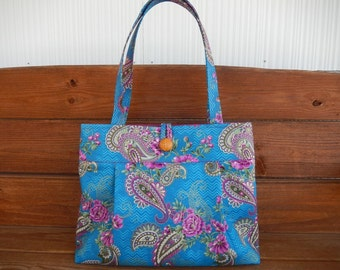 Fabric Handbag Purse Accessories Women Handbag Large Shoulder Bag in Turquoise with Purple Paisley accented with Metallic Gold